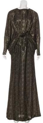 Issa Textured Metallic Dress Brown Textured Metallic Dress