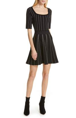 Club Monaco Teddiko Stripe Detail Fit & Flare Sweater Dress