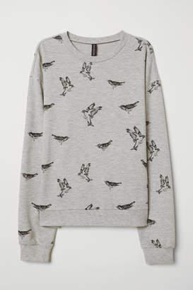 H&M Sweatshirt with Printed Design - Gray