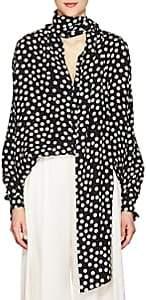 Juan Carlos Obando Women's Polka Dot Silk Tieneck Blouse - Black