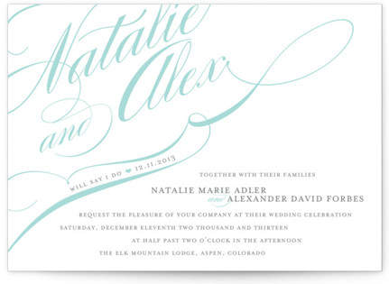 Winter Flourish Letterpress Wedding Invitations