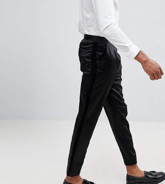 Asos Design DESIGN Tall tapered smart pant in black satin with velvet side stripe