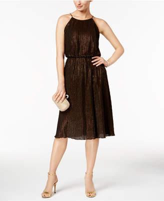 Julia Jordan Mini-Pleated Metallic Dress