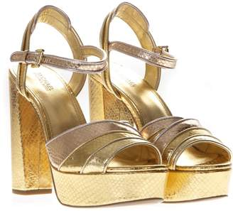 5b922bb7acf MICHAEL Michael Kors Platform Sandals In Gold Printed Reptile Leather