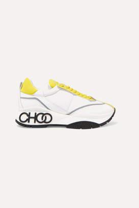 Jimmy Choo Raine Leather And Neoprene Sneakers - Yellow