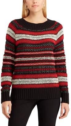 Chaps Petite Striped Scoopneck Sweater