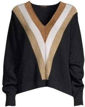 Caroline Constas Wool& Lurex V-Neck Sweater