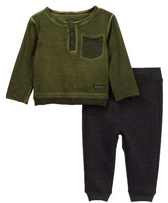 Hudson 2-Piece Jersey Henley & Fleece Pants Set (Baby Boys)
