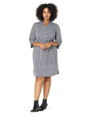Donna Morgan Women's Plus Size Printed Jersey Shirt Dress