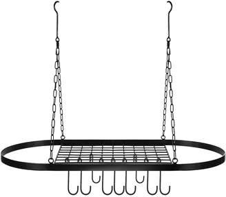 Sorbus Pot & Pan Rack for Ceiling with Hooks - Black