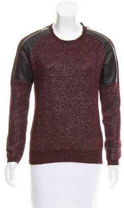 The Kooples Sport Leather-Trimmed Knit Sweater