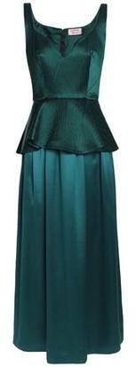 Lanvin Cloqué-Paneled Silk-Satin Peplum Gown