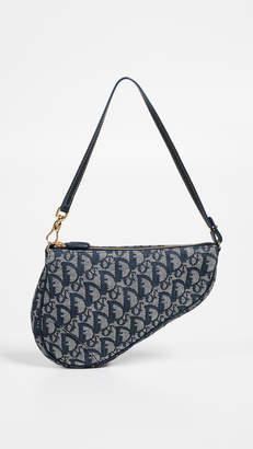 Christian Dior What Goes Around Comes Around Black Canvas Saddle Mini Bag