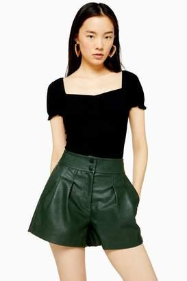 Topshop Black Short Sleeve Ruched T-Shirt