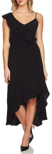 1.STATE Ruffle High/Low Midi Dress