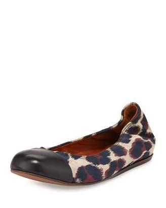 Lanvin Leopard Jacquard Ballet Flat, Beige $595 thestylecure.com
