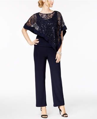 R & M Richards Petite Sequined Lace Pantsuit