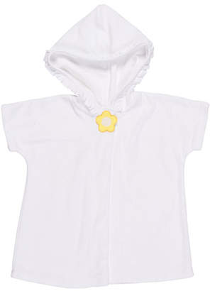 Florence Eiseman Knitted Terry Cloth Hooded Swim Coverup, White/Yellow, Size 6-24 Months