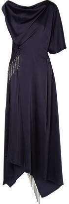 Christopher Kane Asymmetric Crystal-embellished Satin Maxi Dress - Navy