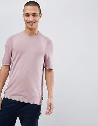 Ted Baker knitted crew neck t-shirt in pink