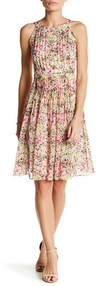 Adrianna Papell Pleated Halter Neck Fit & Flare Dress $160 thestylecure.com