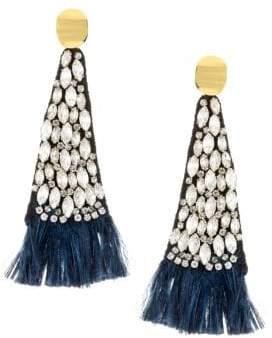 Lizzie Fortunato 18K Goldplated Feather Fringe Drop Earrings