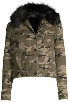 Generation Love Evan Camo Faux Fur Jacket