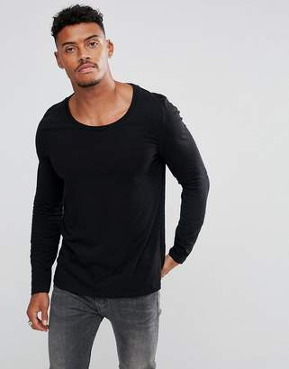 Asos Design DESIGN long sleeve t-shirt with scoop neck in black