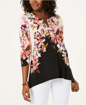 JM Collection Chain-Link Printed Tunic