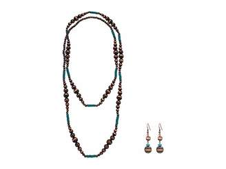 M&F Western Copper Turquoise Bead Necklace/Earrings Set