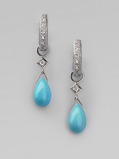 Jude Frances Turquoise, Diamond & 18K White Gold Earring Charms
