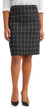 Lifestyle Attitudes Women's Plus Size Pull On Window Pane Pencil Skirt