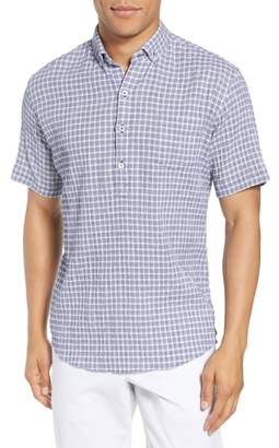 Zachary Prell Nicomini Trim Fit Plaid Popover Sport Shirt