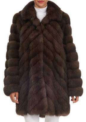 Tsoukas Chevron-Quilted Russian Sable Fur Stroller Jacket