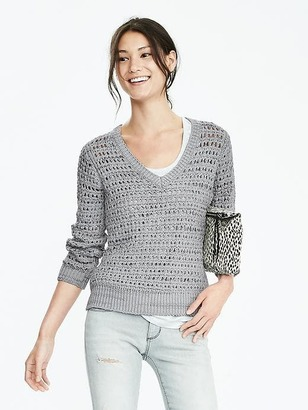 Open-Stitch Vee Sweater $98 thestylecure.com