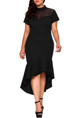 8573721e185de WeWeGirls Women s Short Sleeves Mesh Insert Ruffled Hem Plus Size Party  Dresses