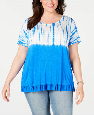 Style&Co. Style & Co Plus Size Tie Dye Ruffle-Hem Top