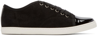 Lanvin Black Suede & Patent Leather Sneakers $595 thestylecure.com