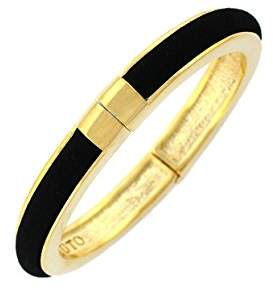 Vince Camuto Black Suede and Gold Inlay Hinged Bangle Bracelet