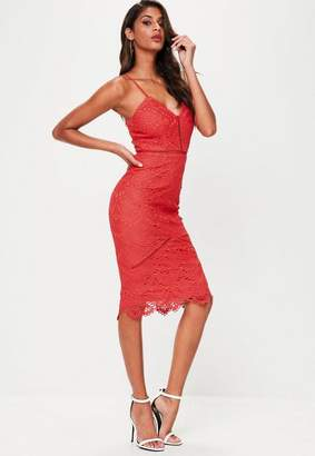 Missguided Red Lace Detail Midi Dress
