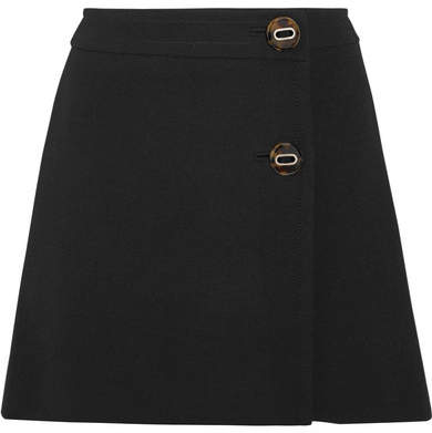 Prada - Natte Wool Wrap Mini Skirt - Black