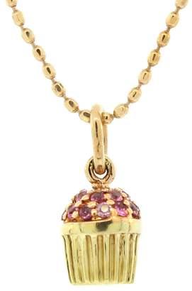 Sydney Evan Tiny Pink Sapphire Cupcake Necklace