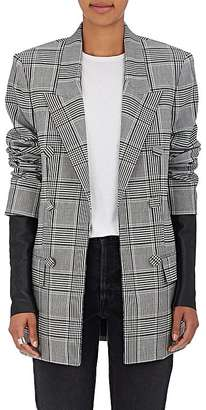 Alexander Wang Women's Leather-Sleeve Checked Blazer