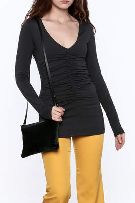 Susana Monaco Zip Gather Long Sleeve Top