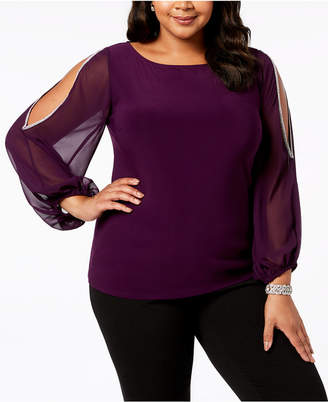 MSK Plus Size Rhinestone-Trim Split-Sleeve Top