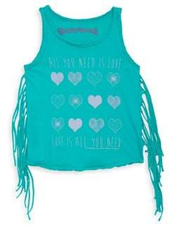 Rowdy Sprout Toddler, Little Girl's & Girl's Graphic Fringe Cotton Tank Top