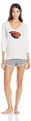 Munki Munki Women's Collegiate Oversized Cuffed V-Neck Tee and Short Set