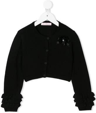 Miss Blumarine ruffle sleeve cardigan