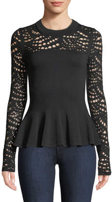Milly Crewneck Pointelle Lace Peplum Top