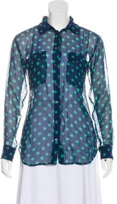 Equipment Semi-Sheer Long Sleeve Top mint Semi-Sheer Long Sleeve Top